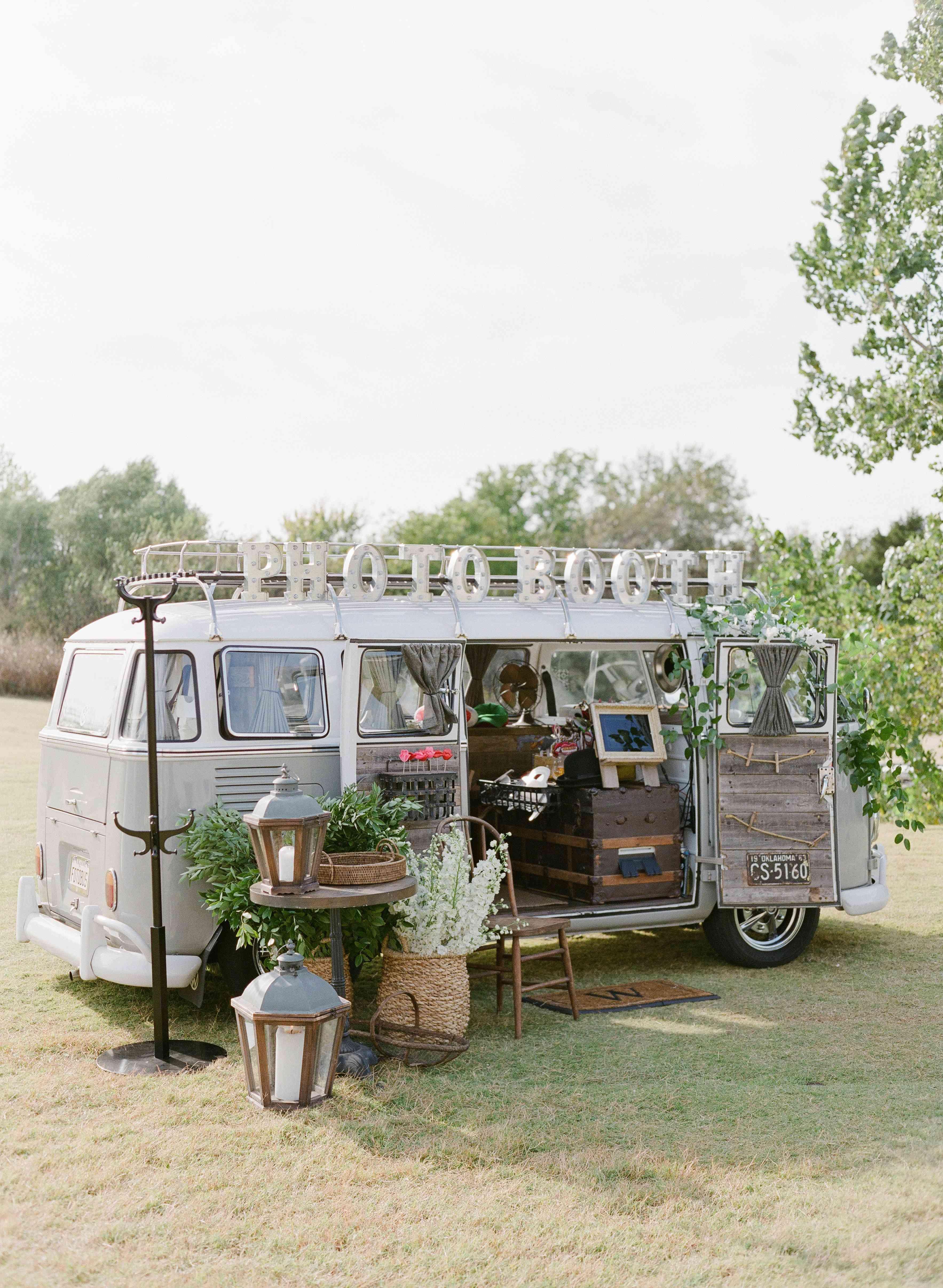 Outdoor wedding photo booth