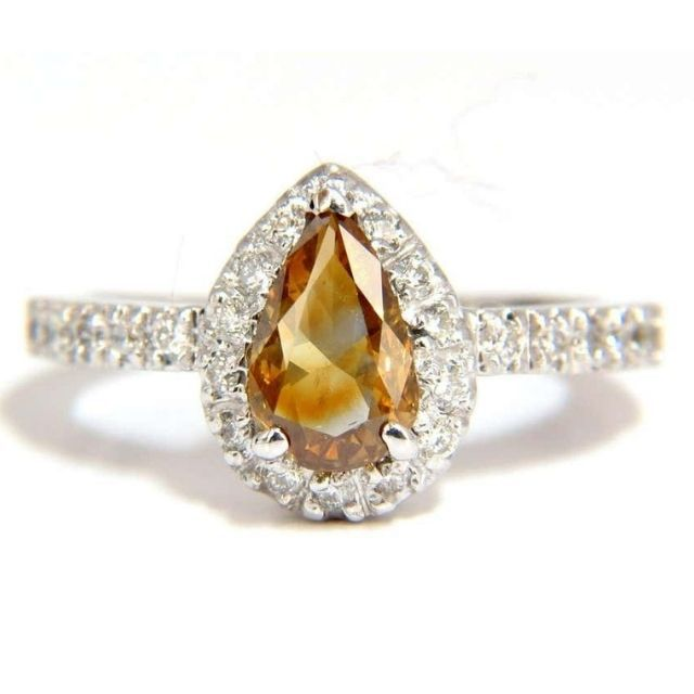 1stdibs Natural Fancy Color Yellow Brown Diamonds Halo Ring