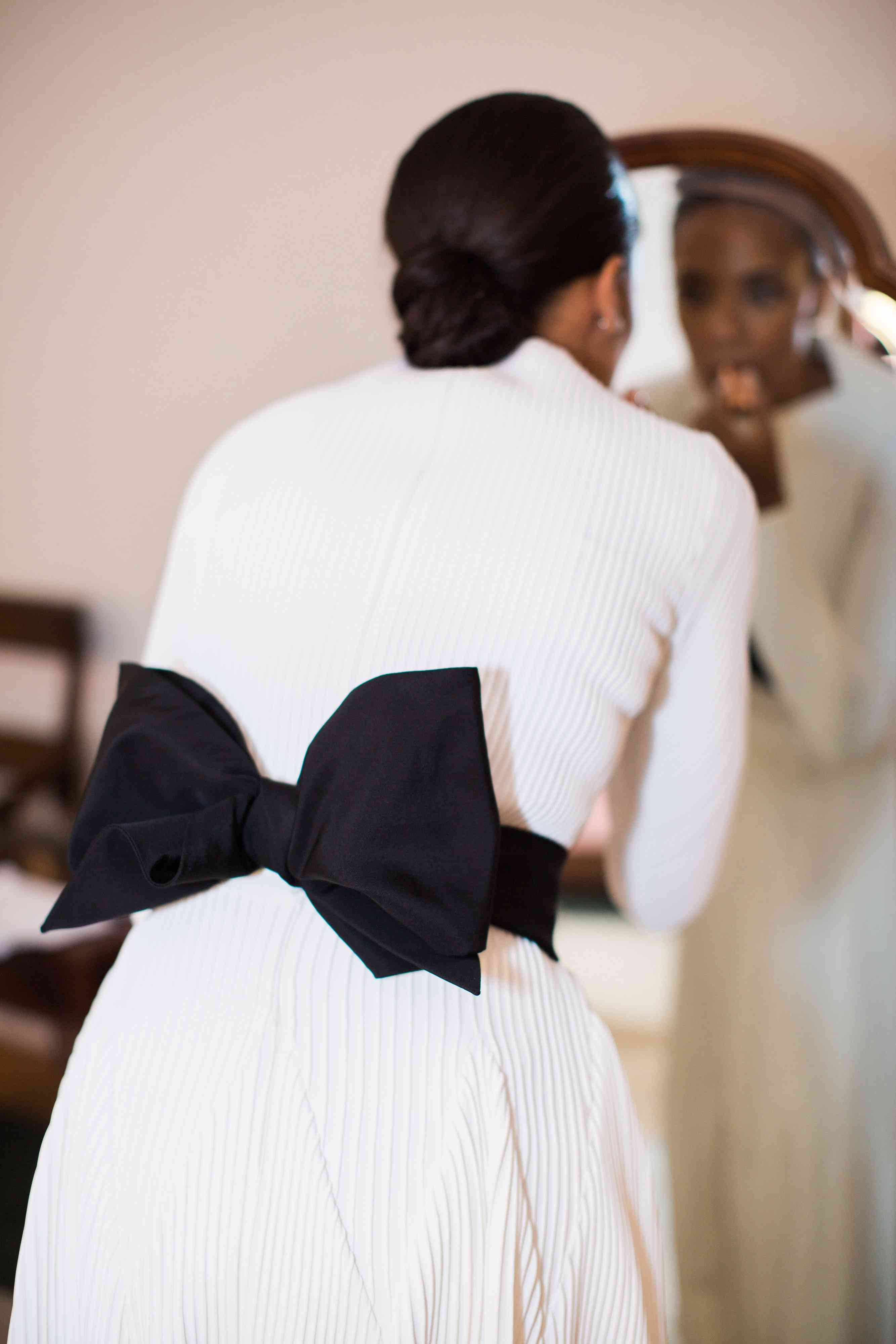 black and white reception dress