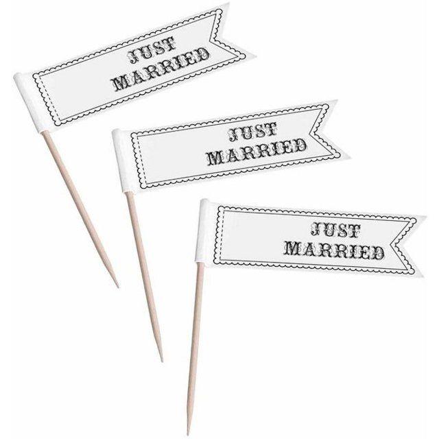 Set of 12 Cupcake Prick, Just Married