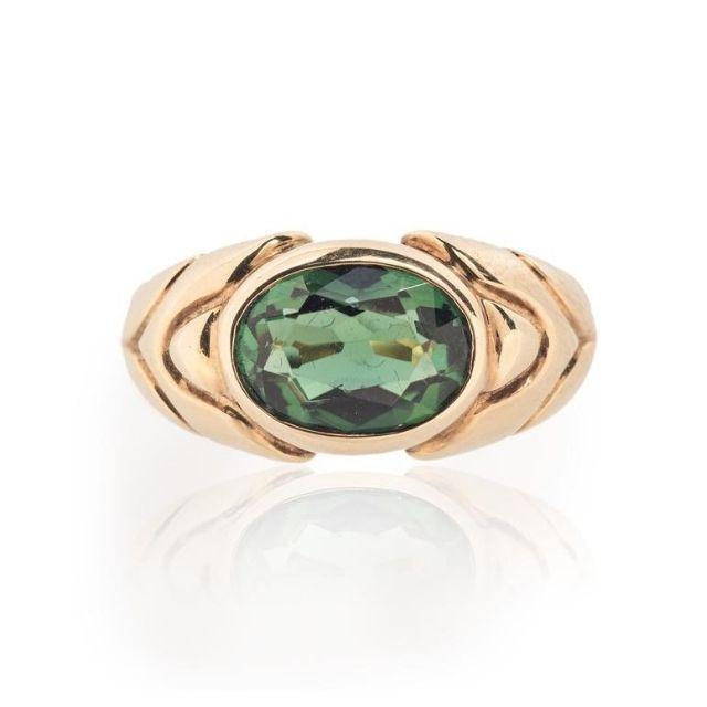 Bulgari 18K Gold Tourmaline Ring