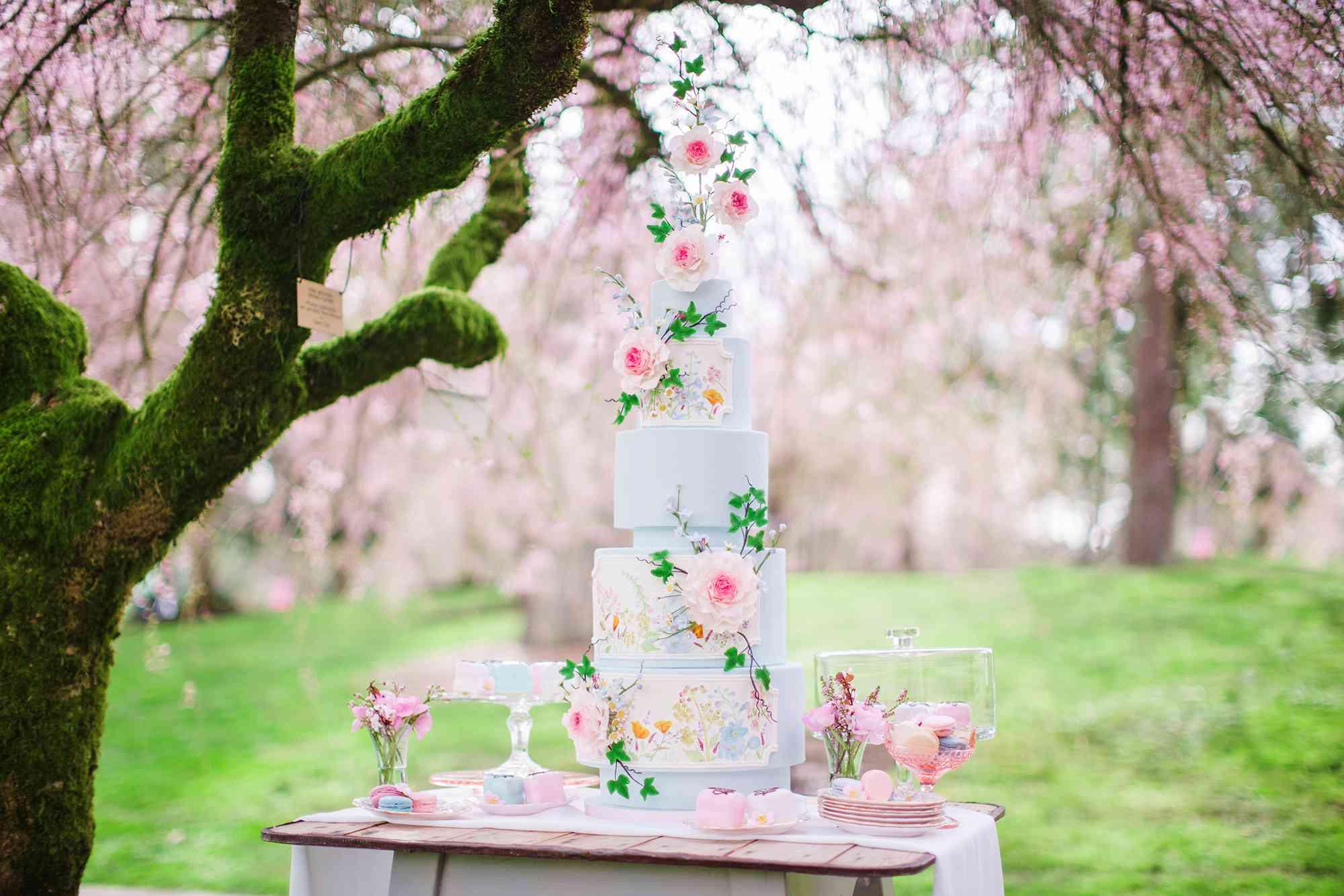 Five-Tiered Watercolor Floral Wedding Cake