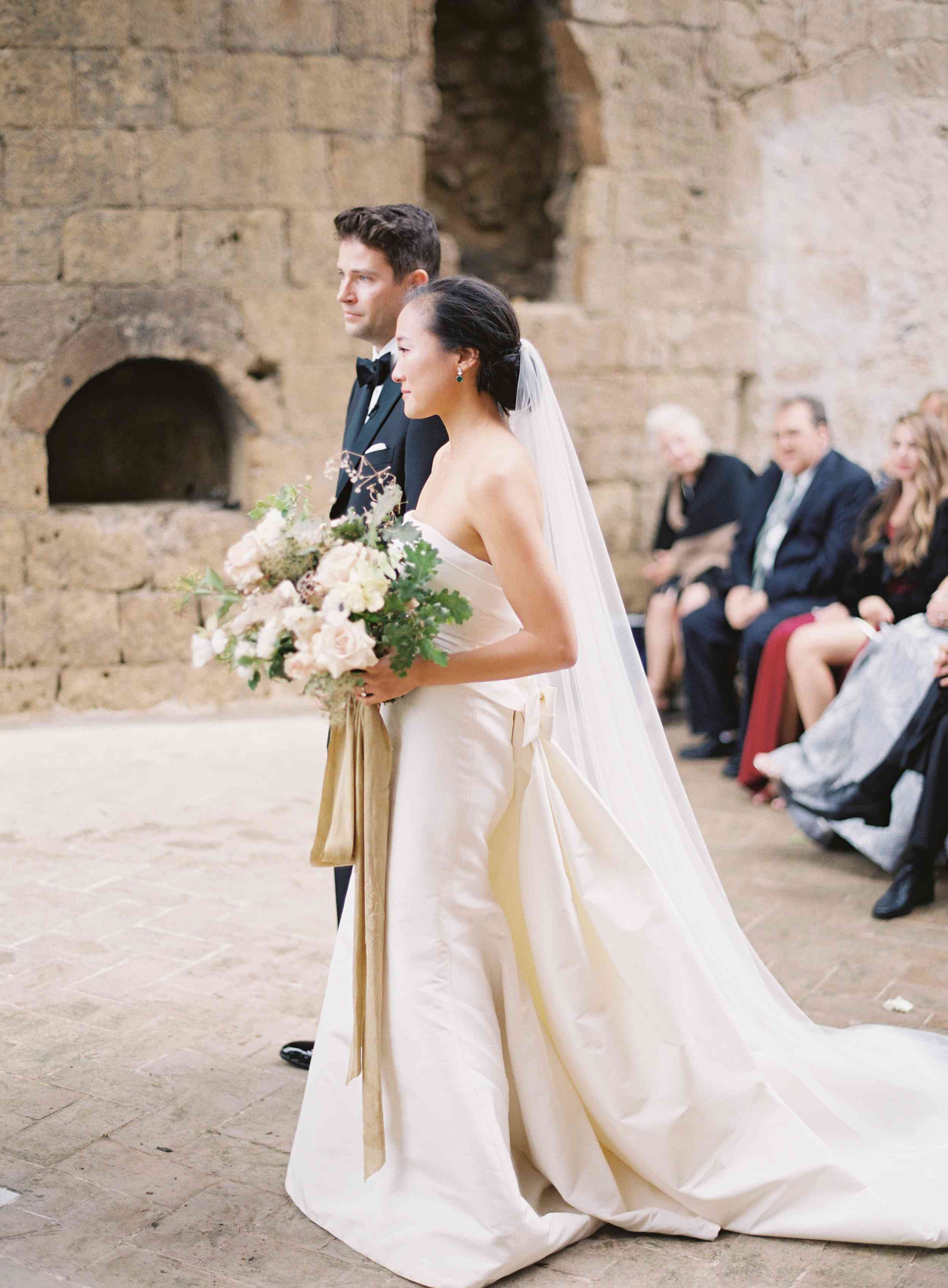 classic la badia italian wedding, bride and groom at ceremony
