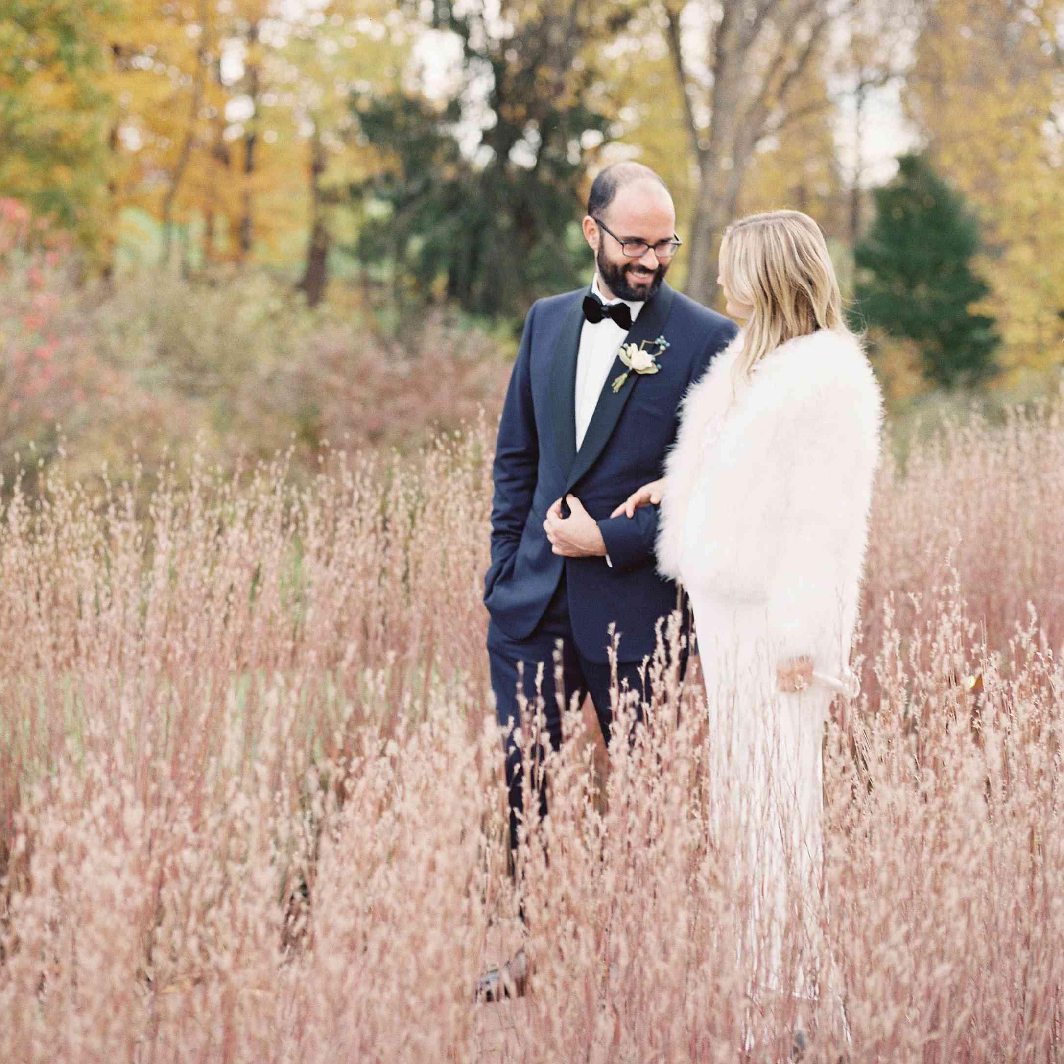 Bride and groom in feild