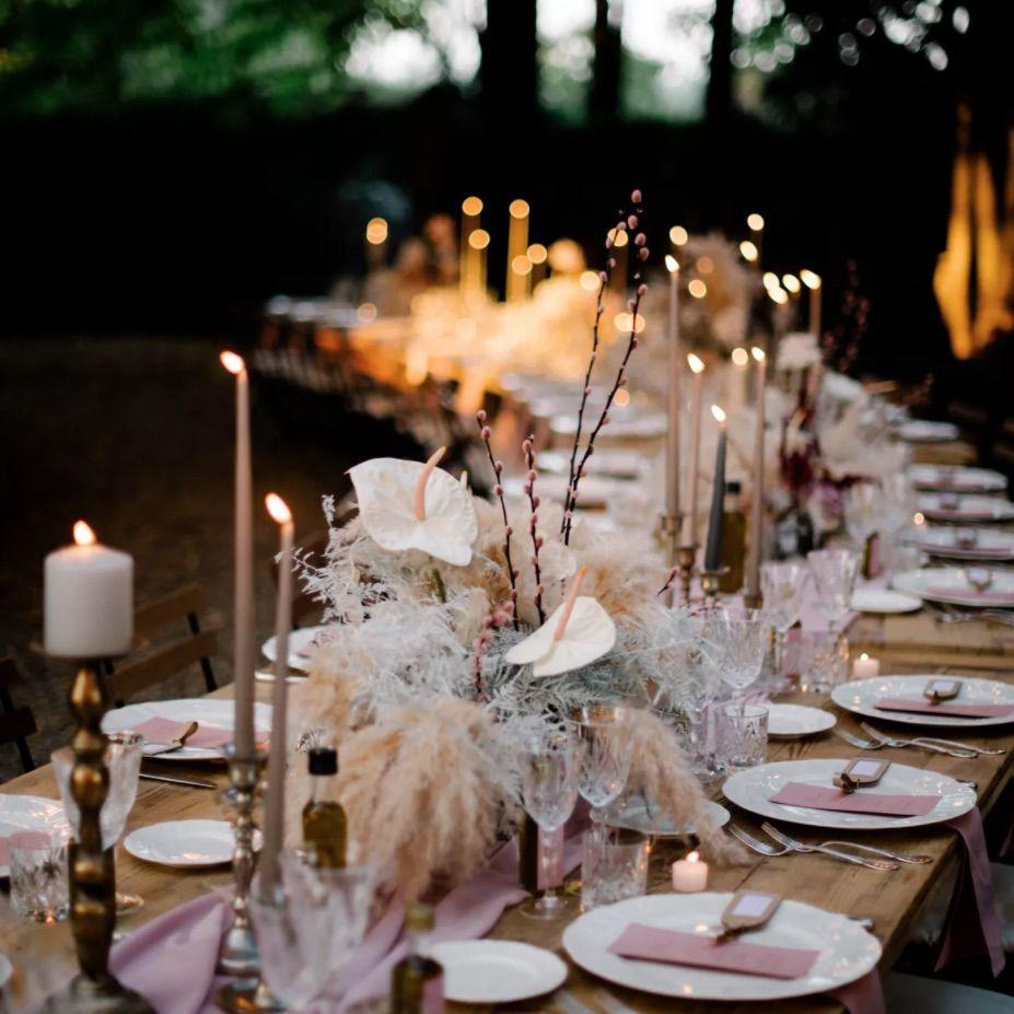 Blush and mauve-toned tablescape