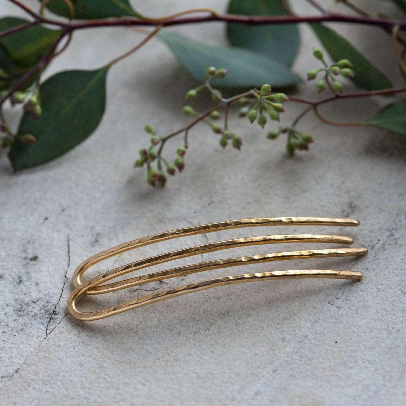 hammered metal hairpins