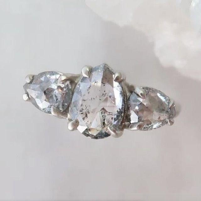Doozie Jewelry Jewelry Salt + Pepper Pear Diamond Trio Ring