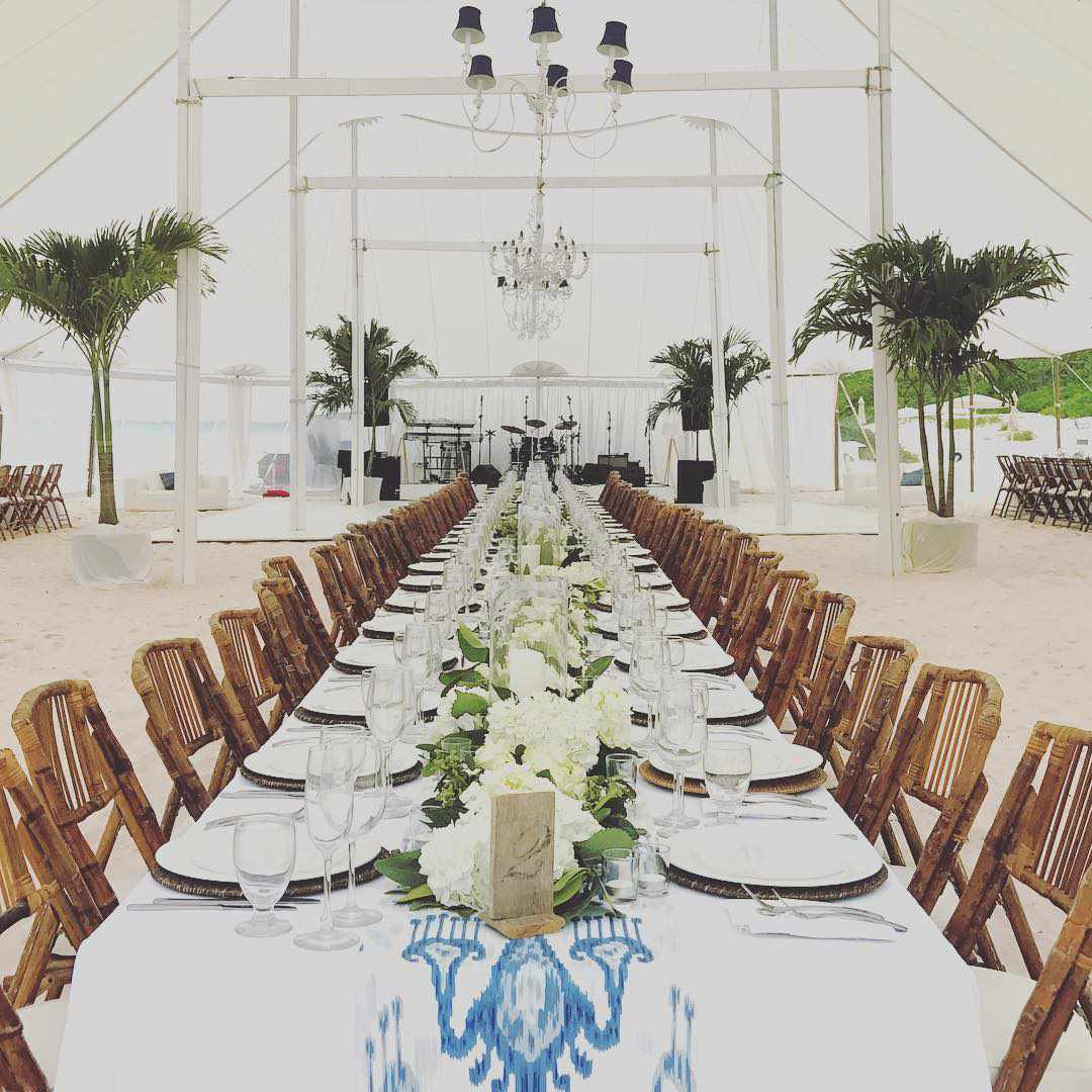 A tented reception on the beach at Ocean View Club, in Harbour Island, Bahamas.