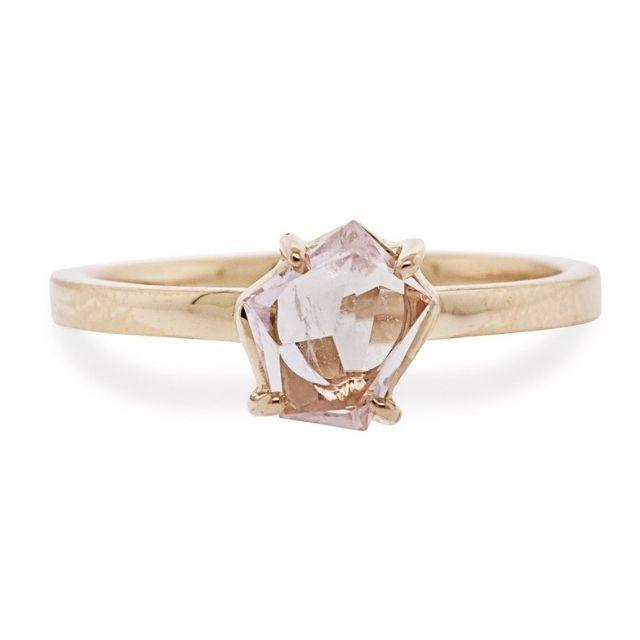 Chinchar Maloney .75 Carat Hand-Cut Bashful Pink Morganite Ring in Rose Gold