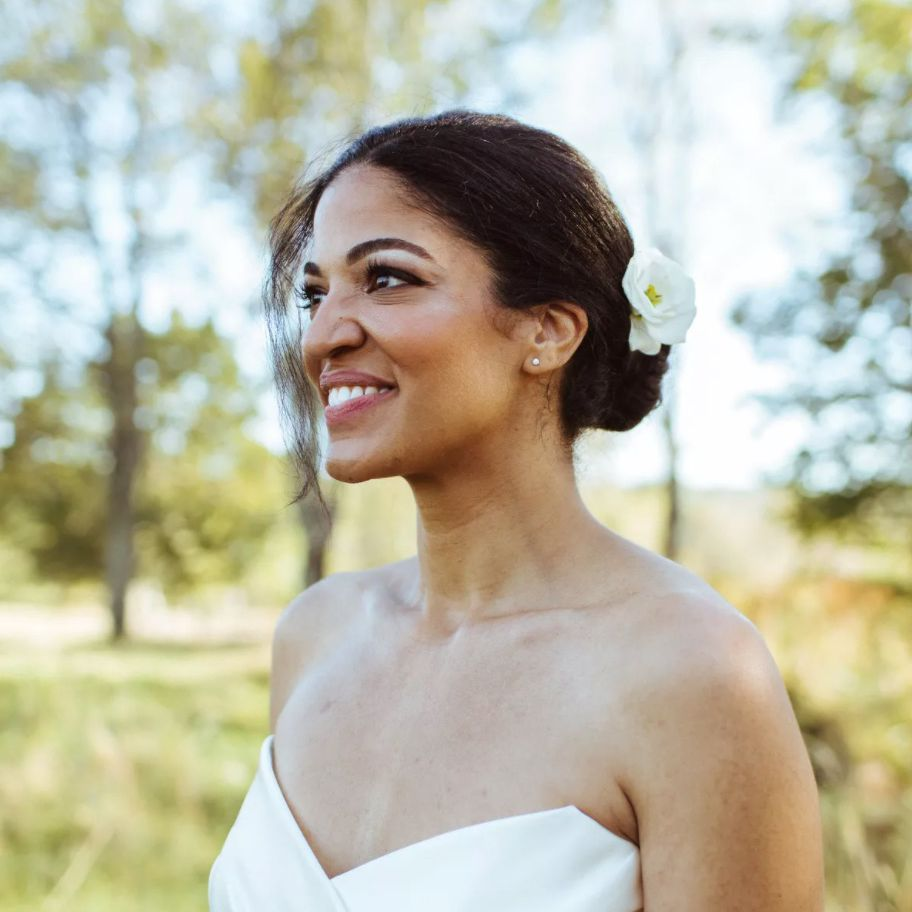 Bridal portrait with flower tucked into bun