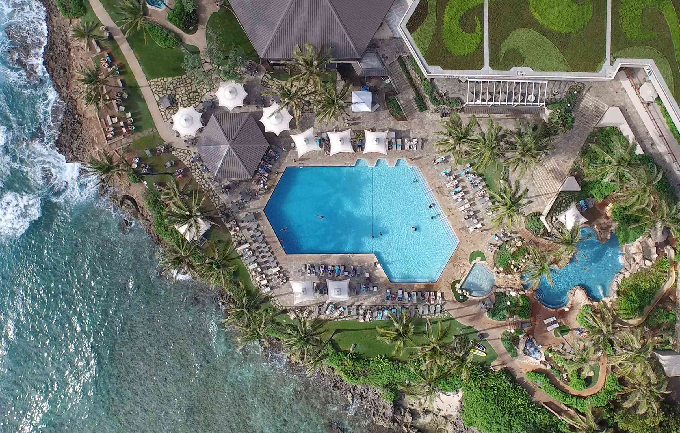 An aerial view of the pool at Turtle Bay Resort, on Oahu
