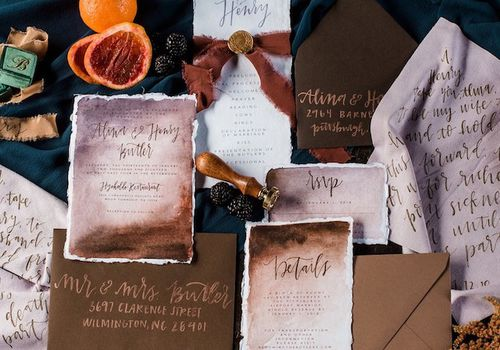 Rustic invitation suite with calligraphy wedding envelopes