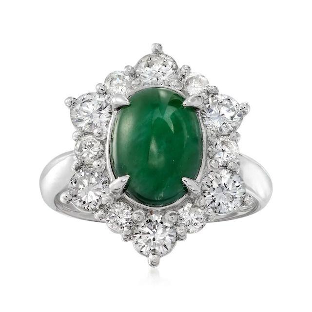 Ross-Simons C. 2000 Vintage Jade and Diamond Ring in Platinum