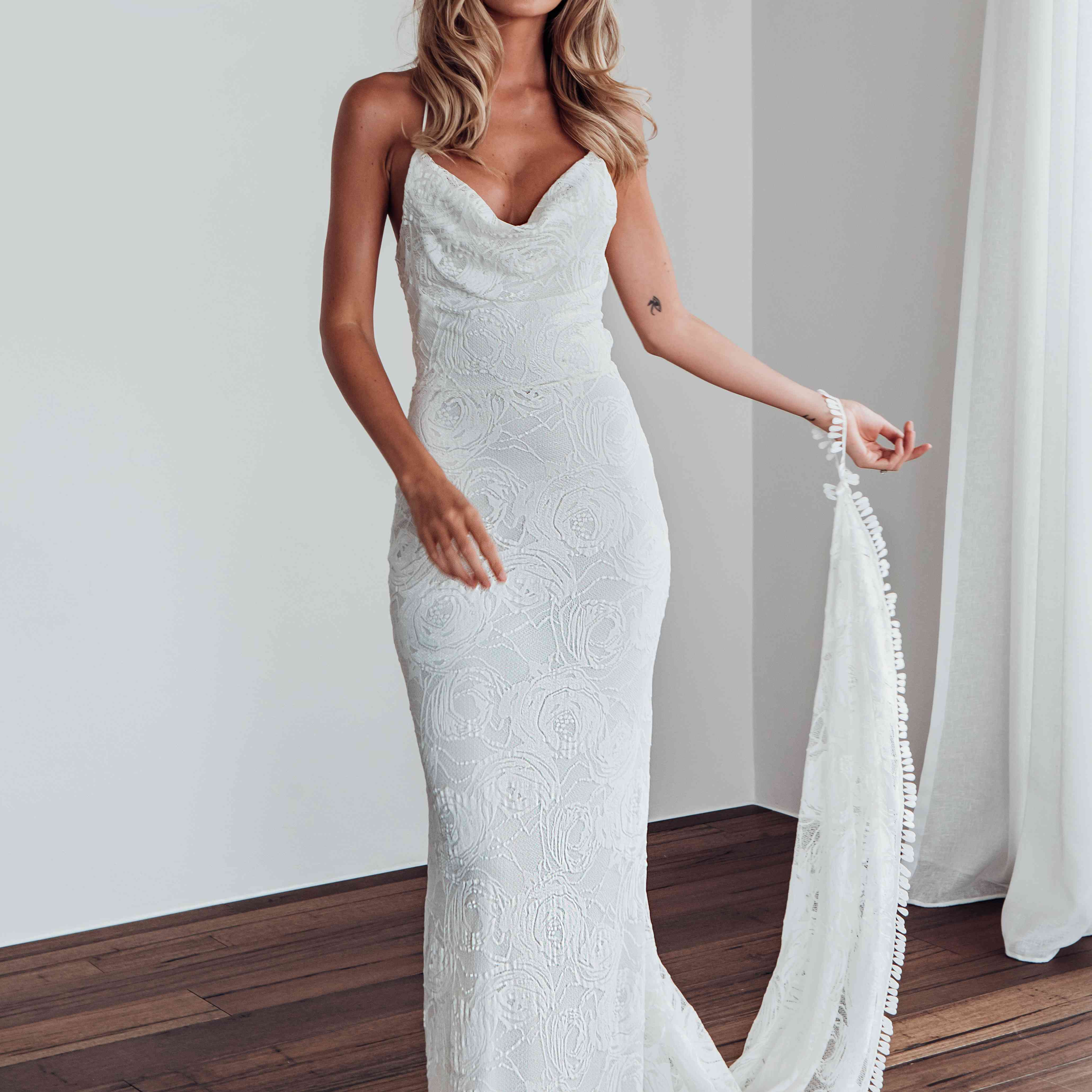 Honey Rose cowl neck wedding dress
