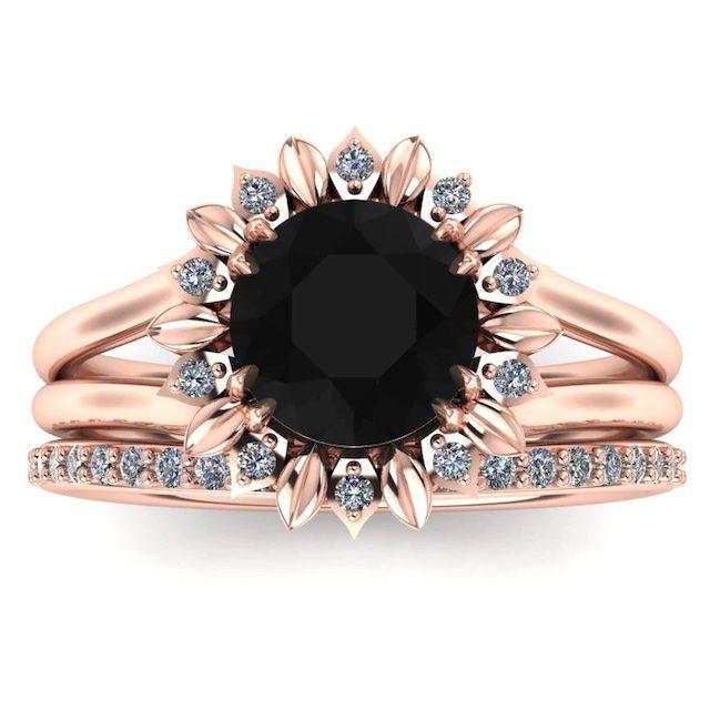 Armante Sunflower Black Diamond Rose Gold Engagement Ring Set