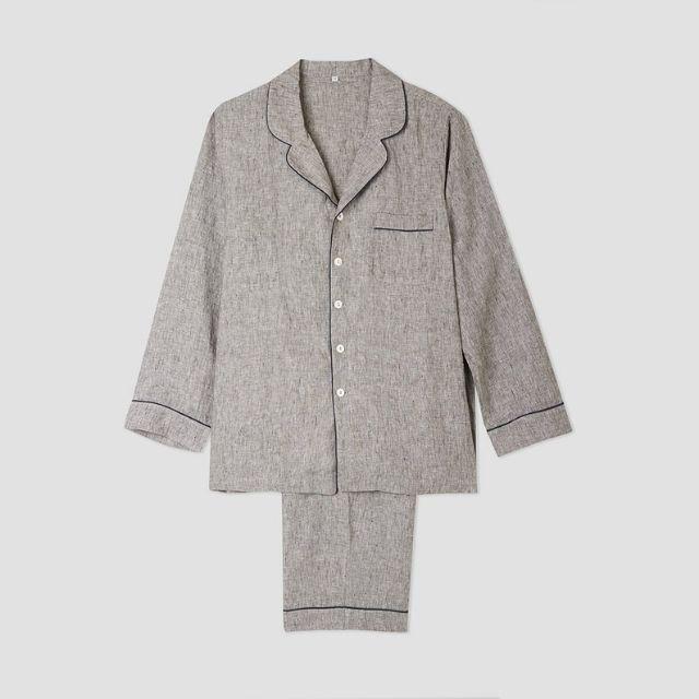Piglet Men's Gray Linen Pajama Trouser Set