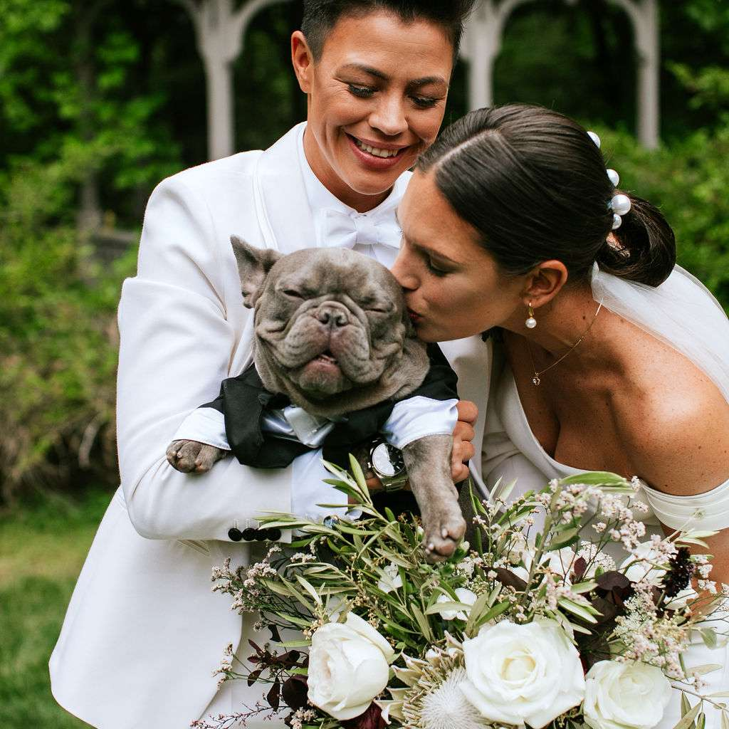 The brides with their dog Otto