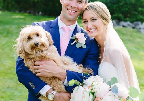 <p>Bride and Groom with Dog</p>