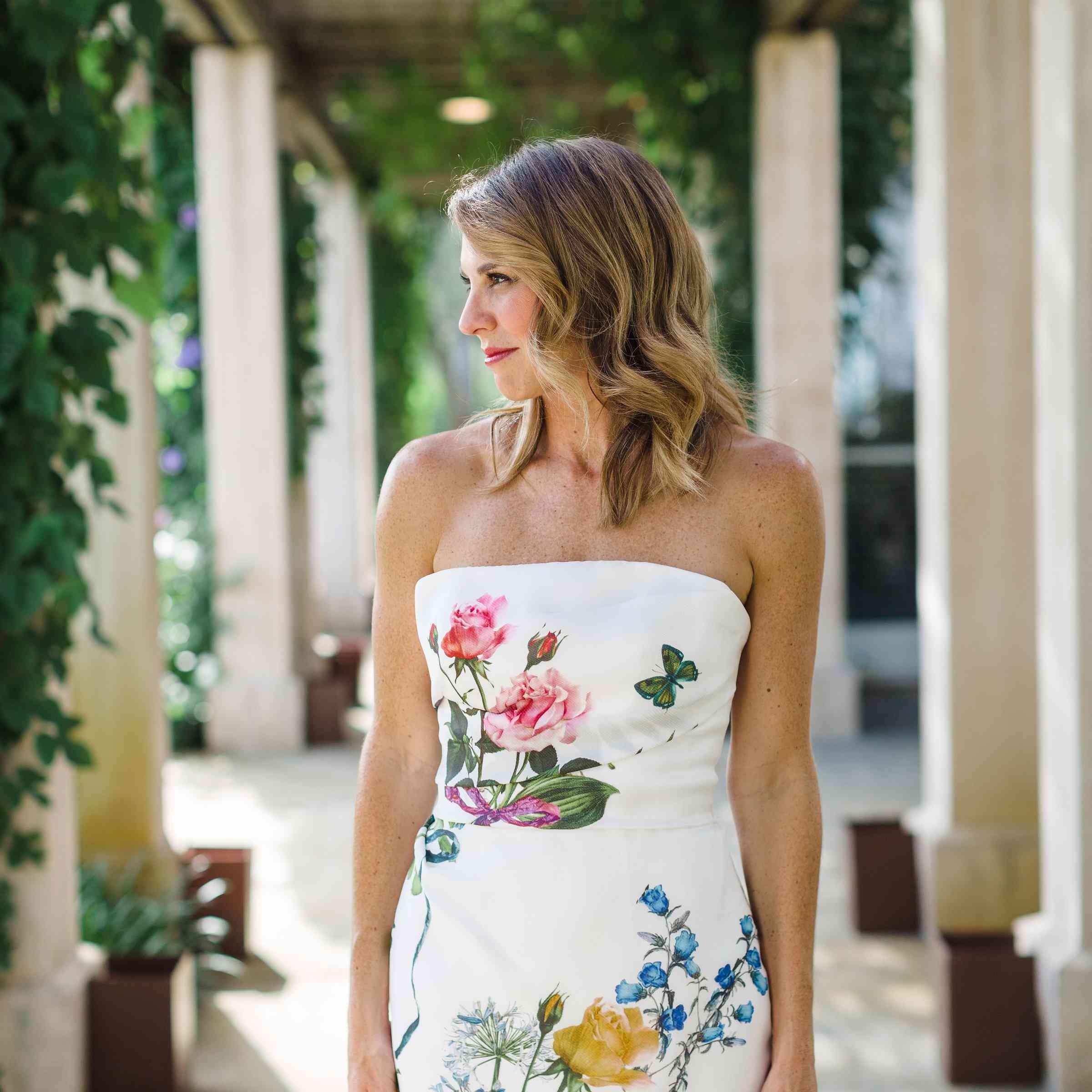 floral printed wedding dress