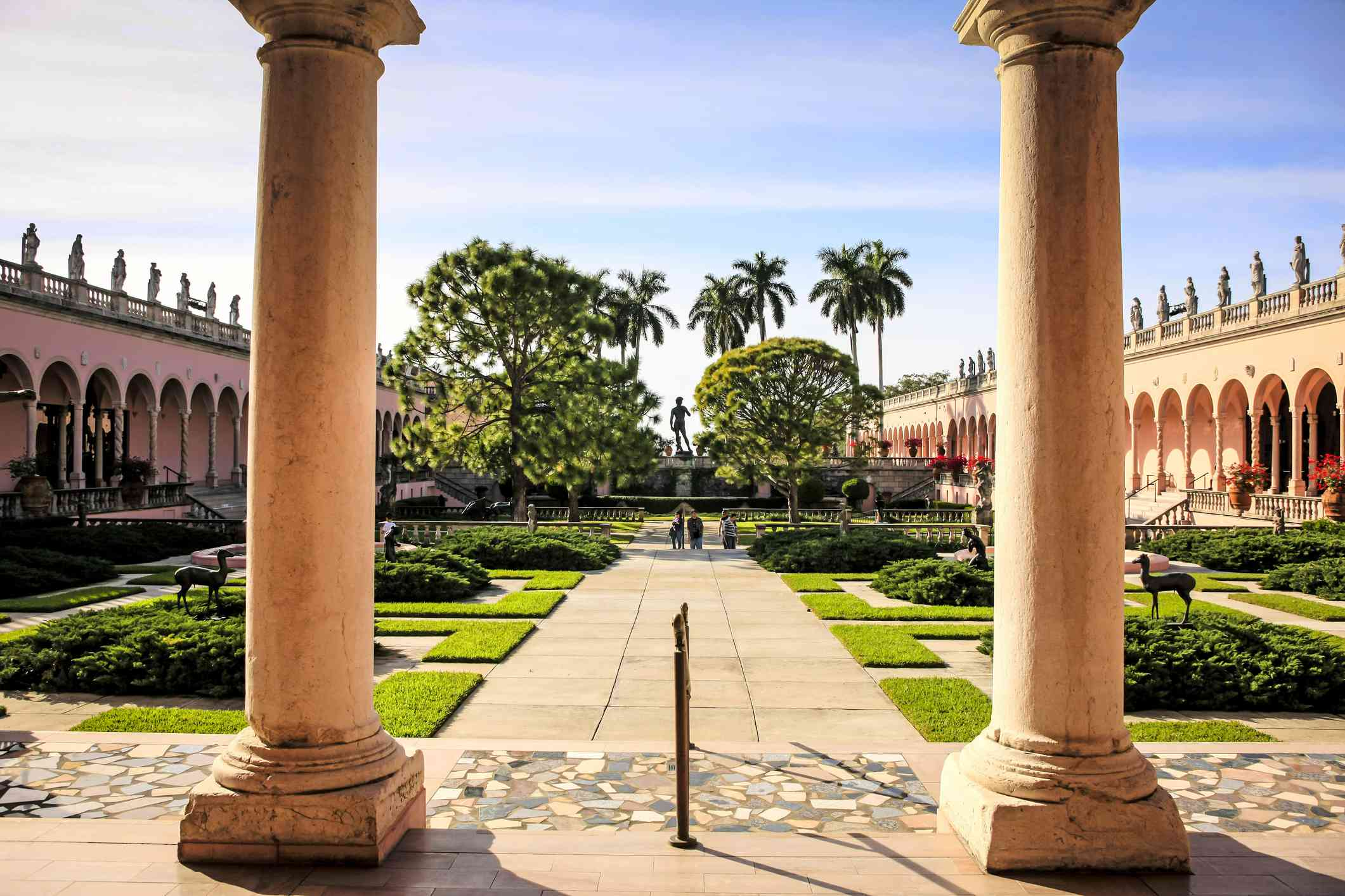 Courtyard and columns at the Ringling Museum in Sarasota, Florida