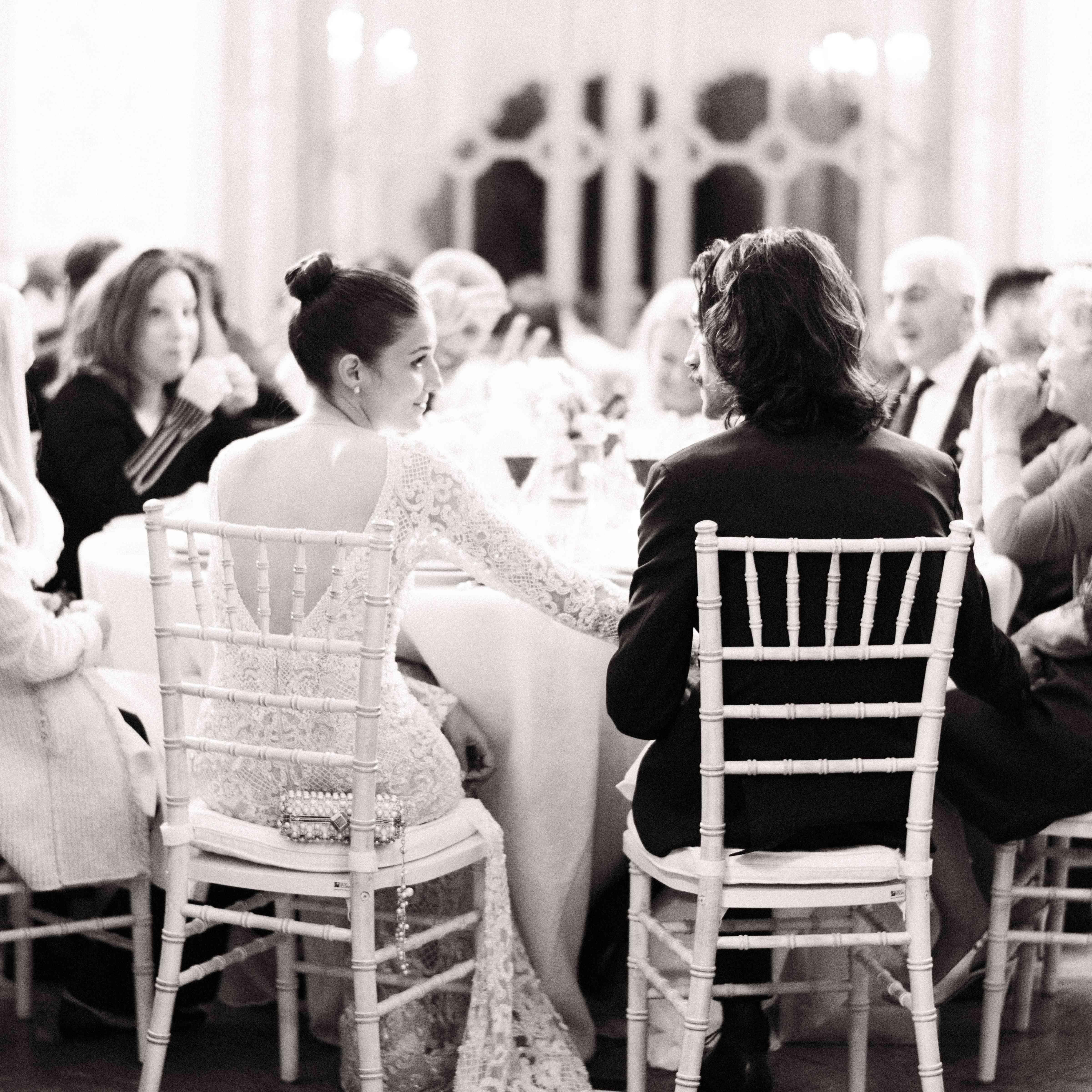 Northern Italian Wedding, Bride and Groom at Reception