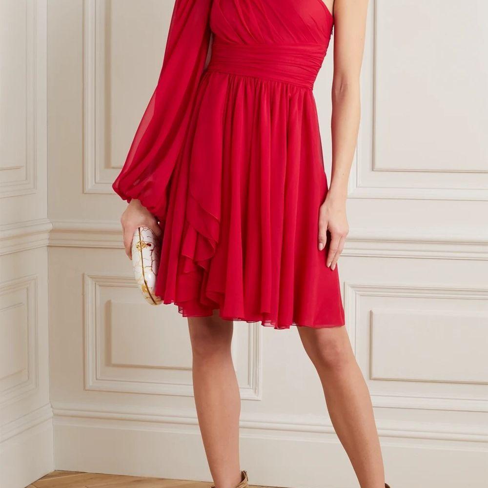 Giambattista Valli One-Sleeve Draped Silk-Georgette Dress