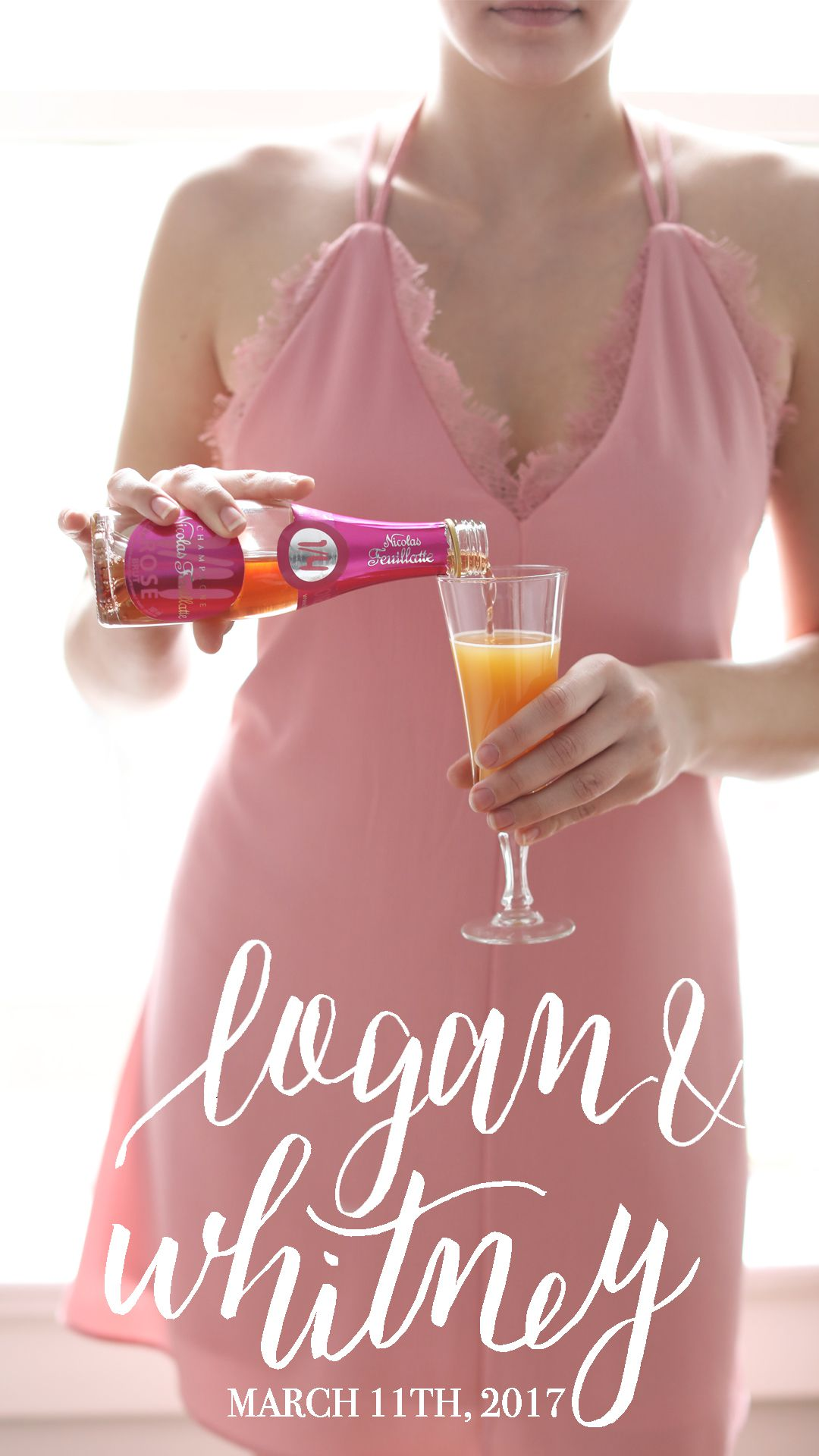 A woman in a pink dress pouring a drink with a wedding filter overlay