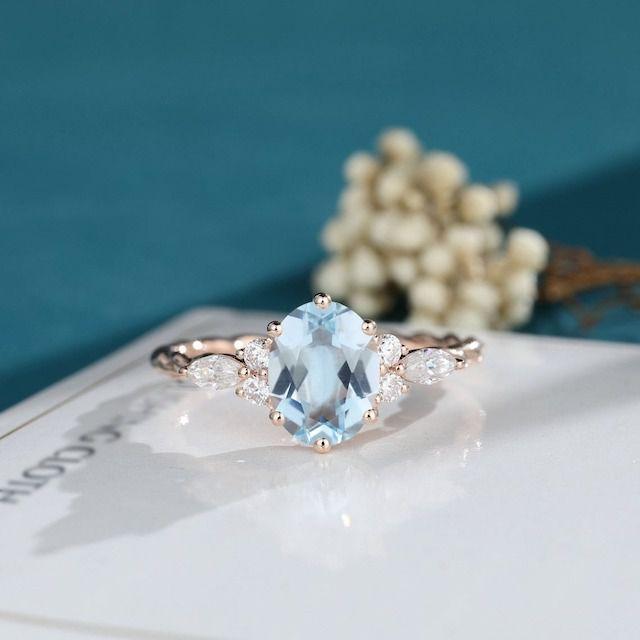 LisaJewelry US Oval Cut Aquamarine Engagement Ring