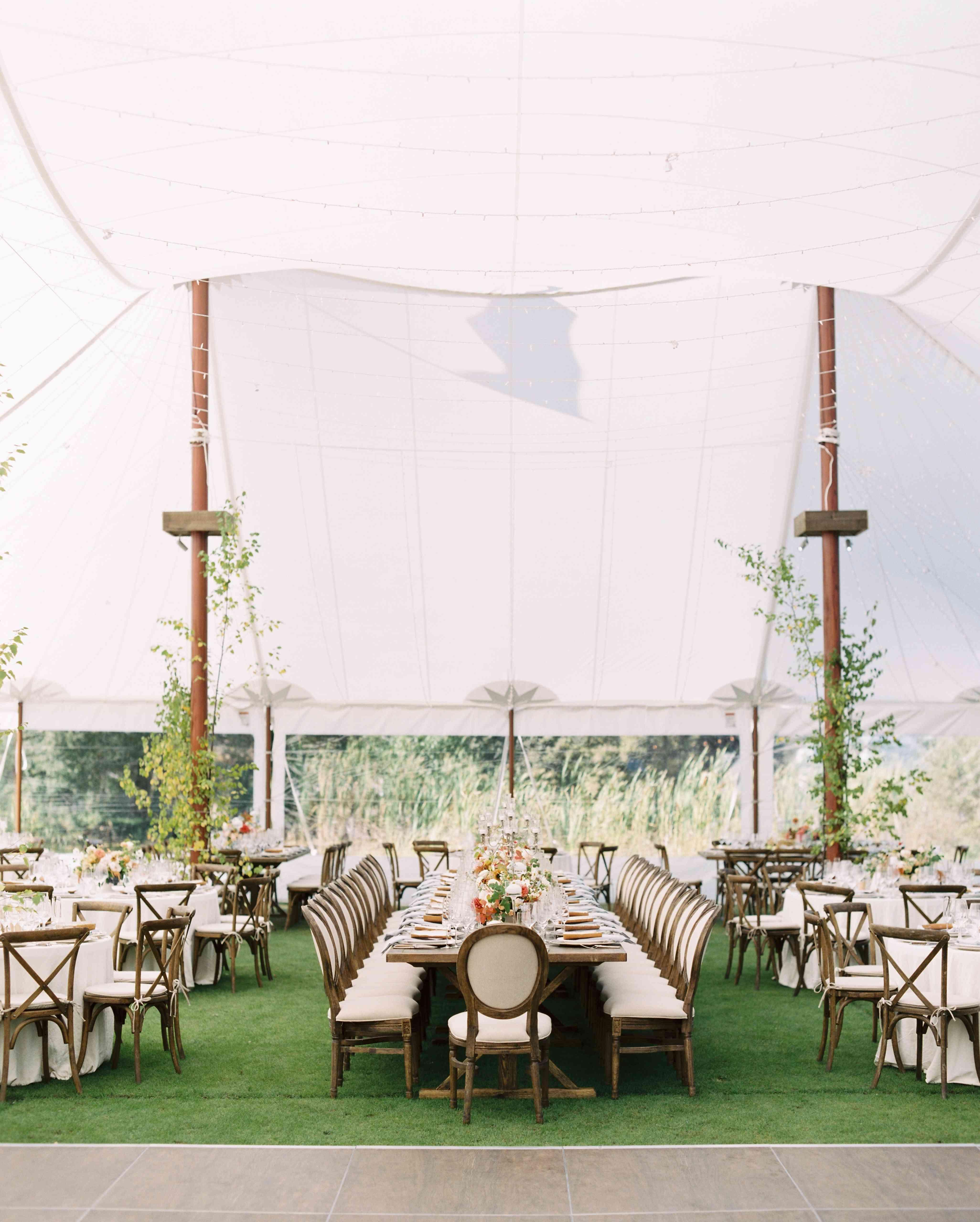 tent reception long reception tables