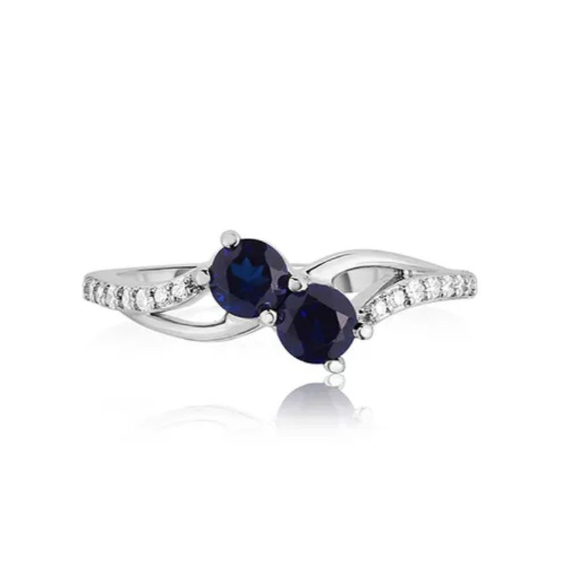 Rogers & Hollands You & Me Two-Stone Sapphire and Diamond Ring