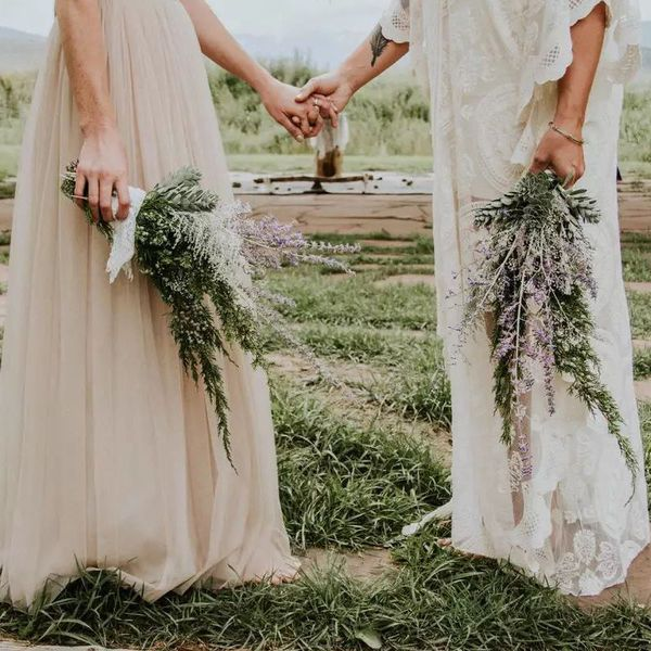 brides holding alternative bouquets