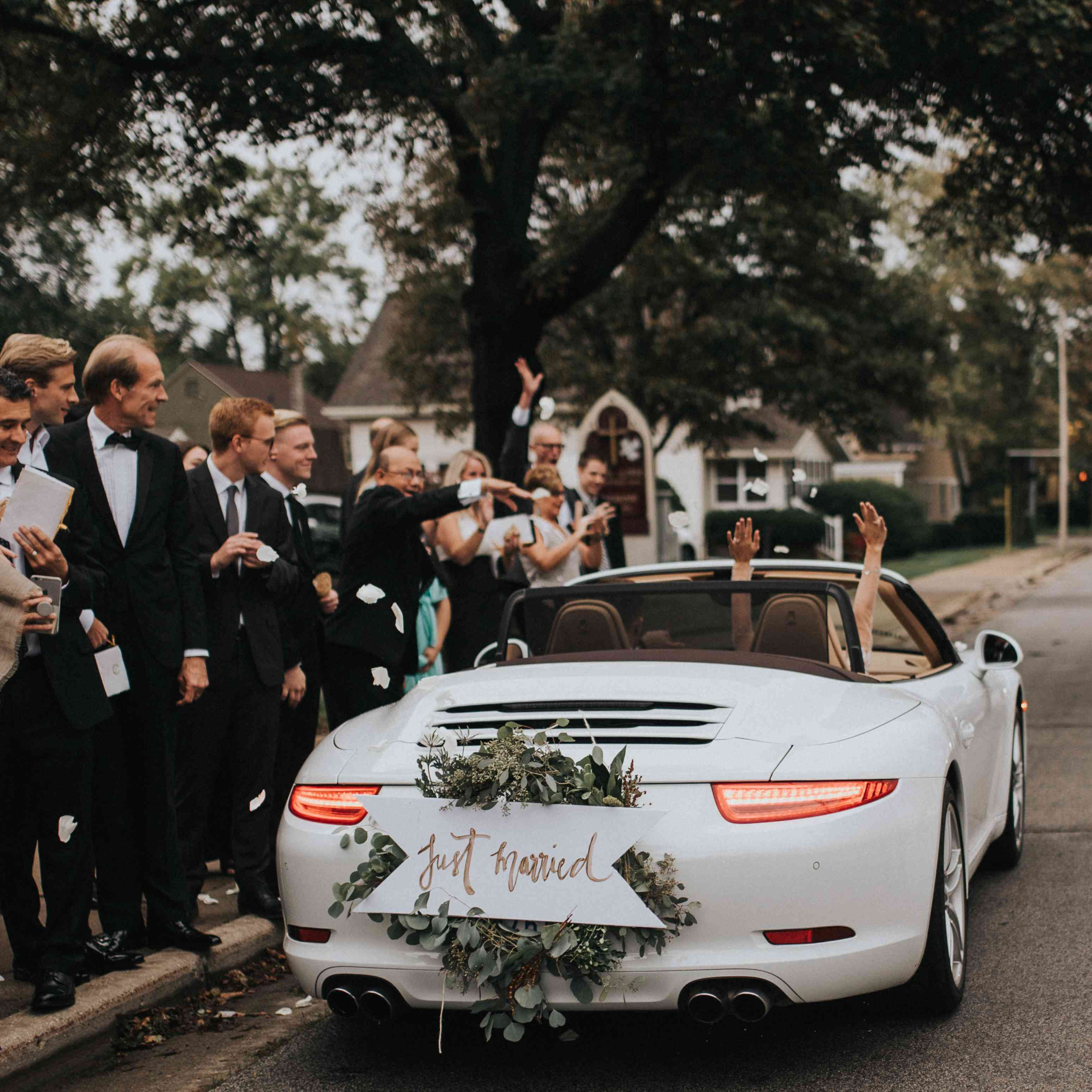 personalized michigan wedding, getaway car
