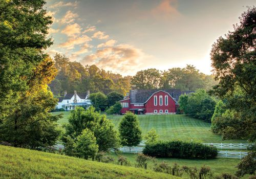 Red barn in background of green farm landscape