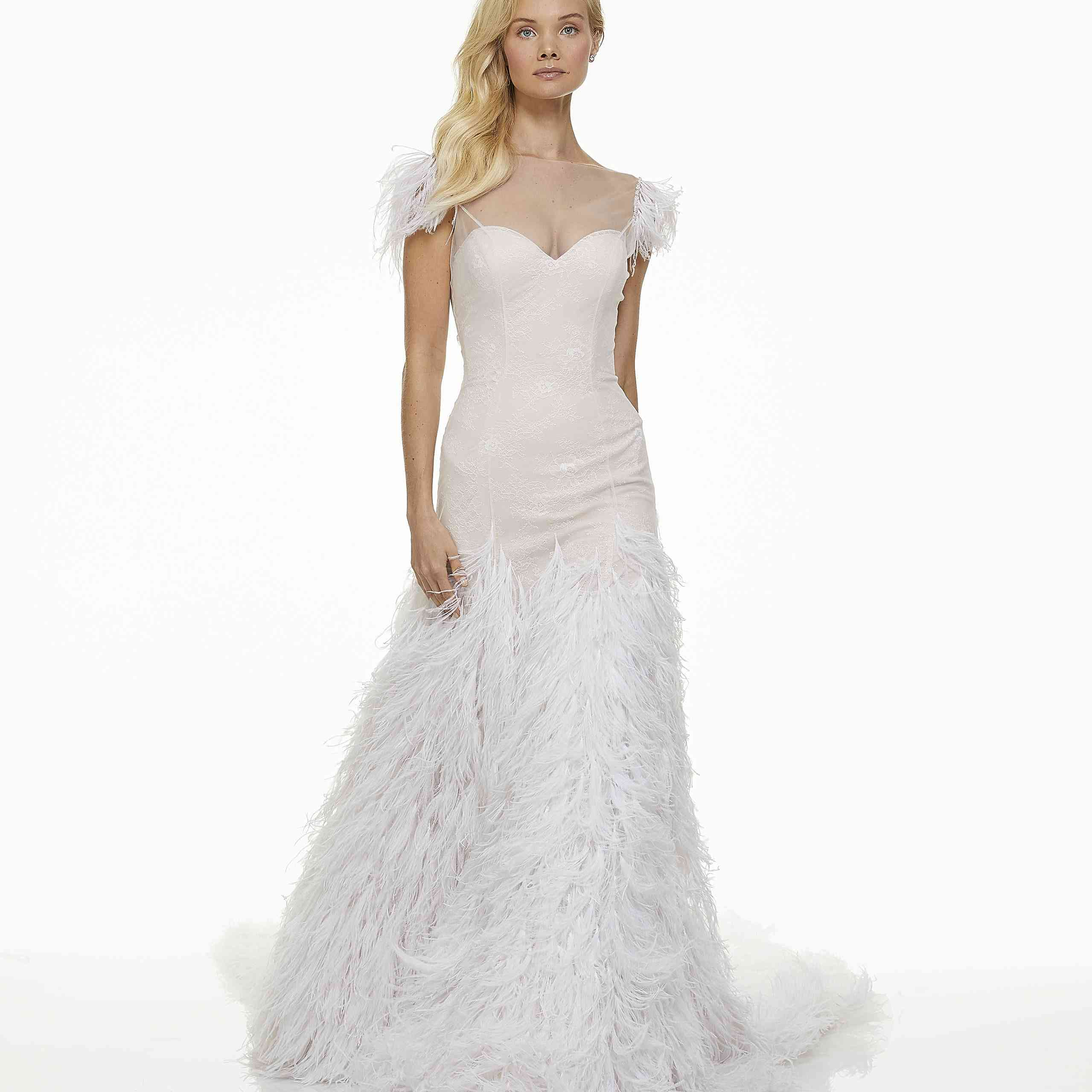 Model in feathered A-line wedding dress