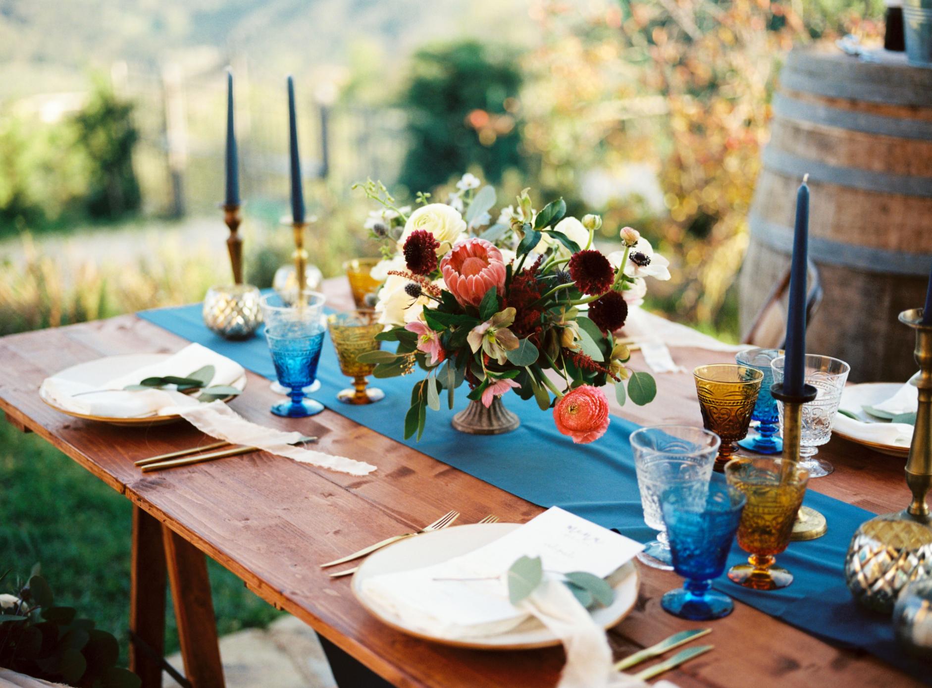 Colorful rustic tablescape