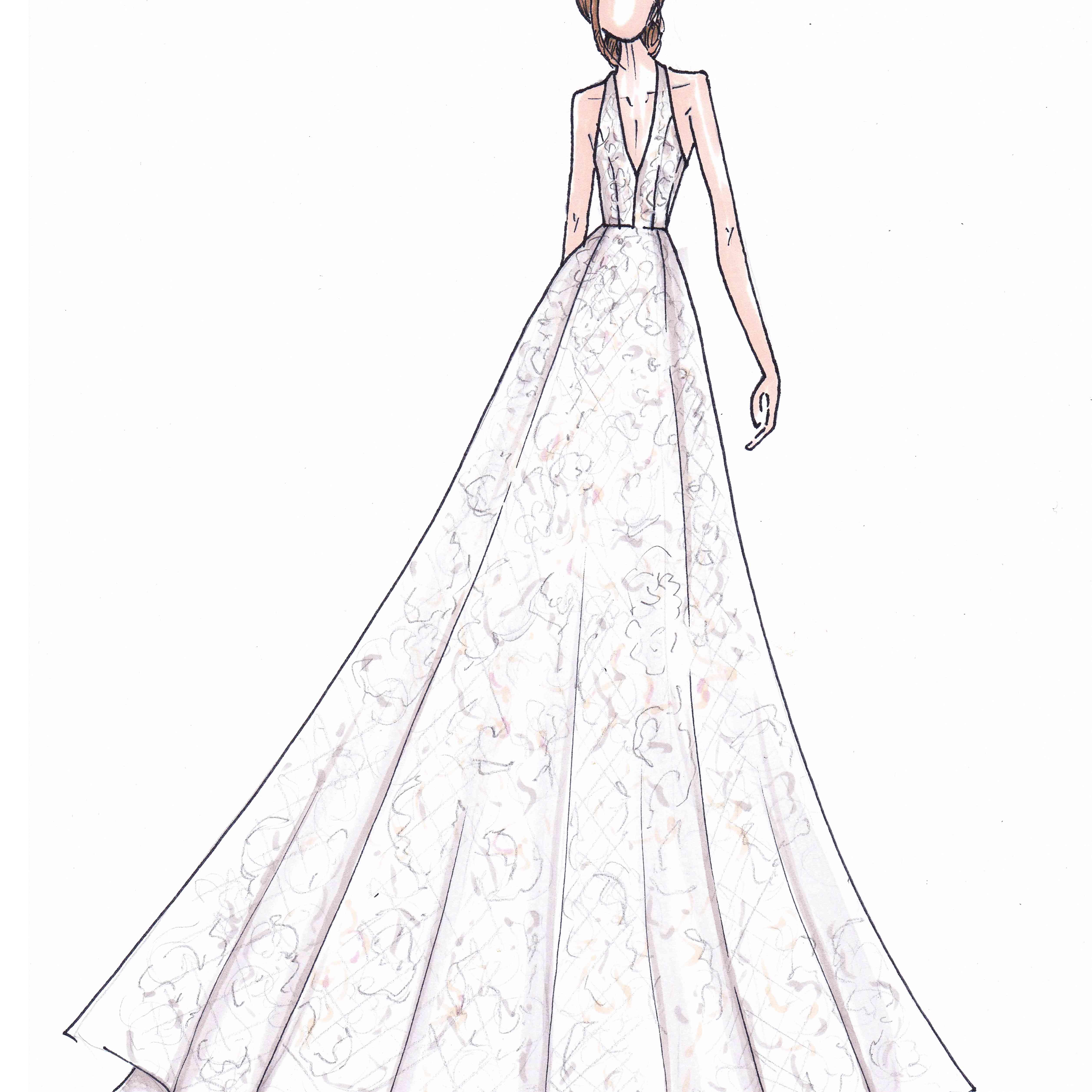 Anne Barge Bridal Fashion Week Fall 2020 Sketch