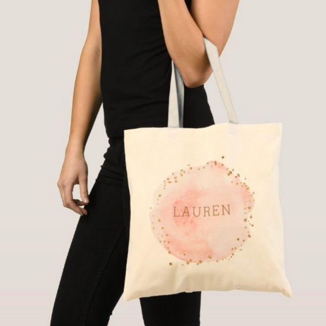 Zazzle Blush Pink Watercolor Circle Tote Bag