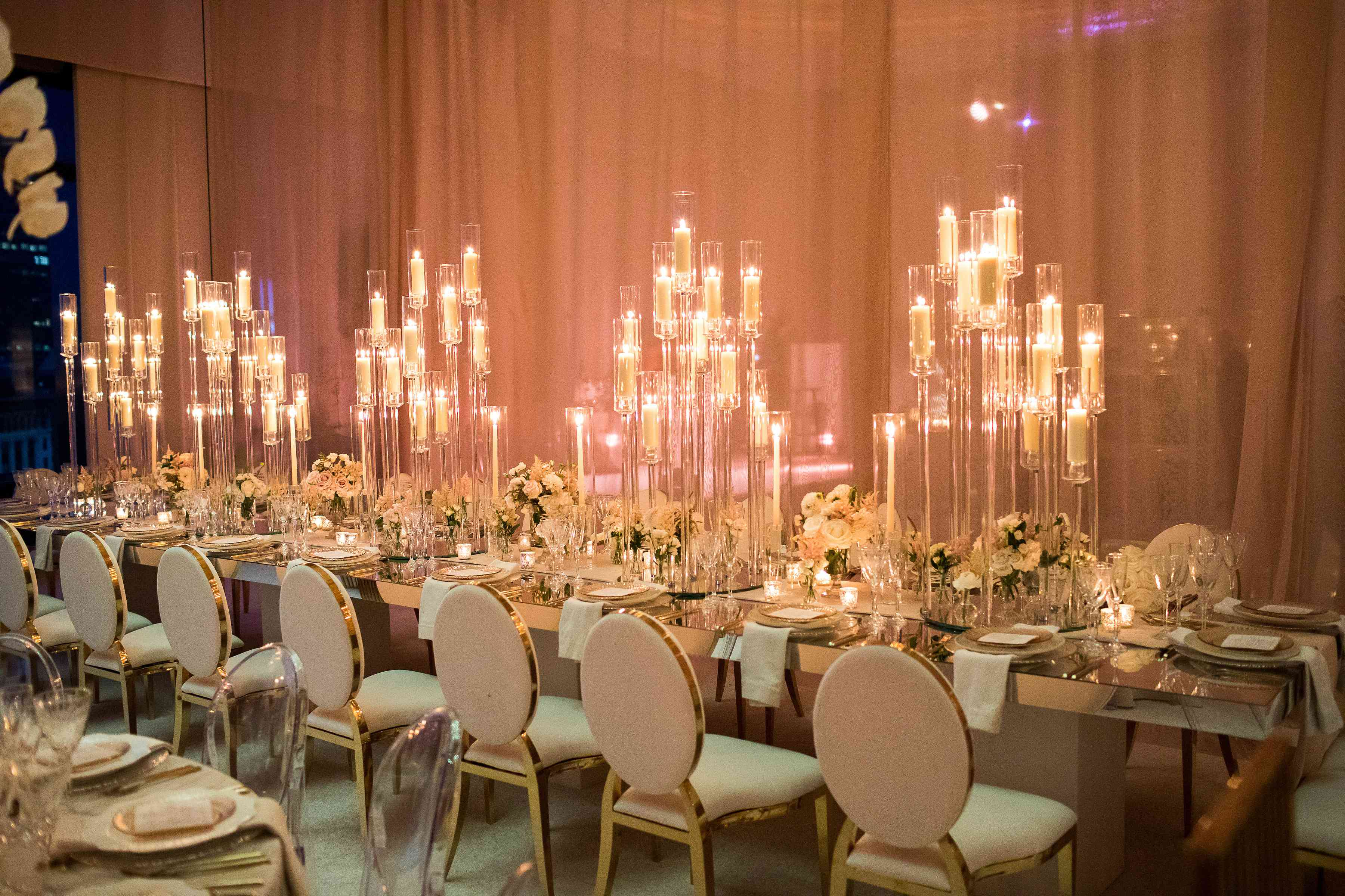 candle centerpieces gold chairs