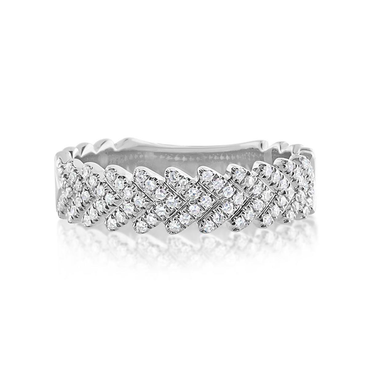 J. Luu Diamond Chevron Ring White Gold