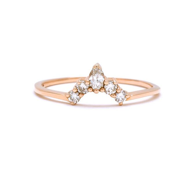 Anna Sheffield Petit Marquise Diamond Tiara Yellow Gold Ring