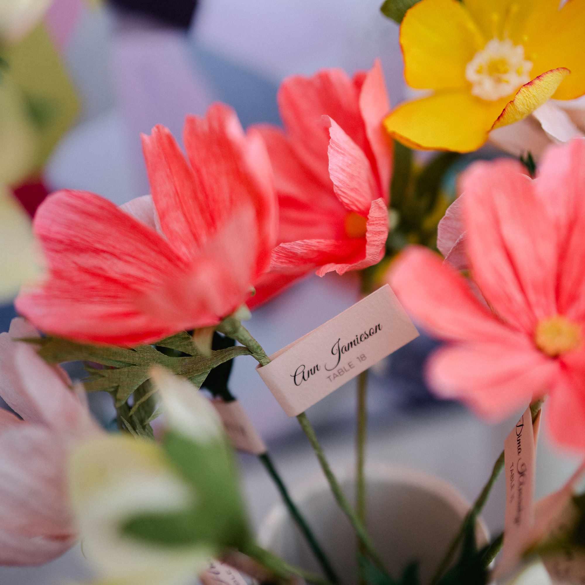 flowers as escort cards