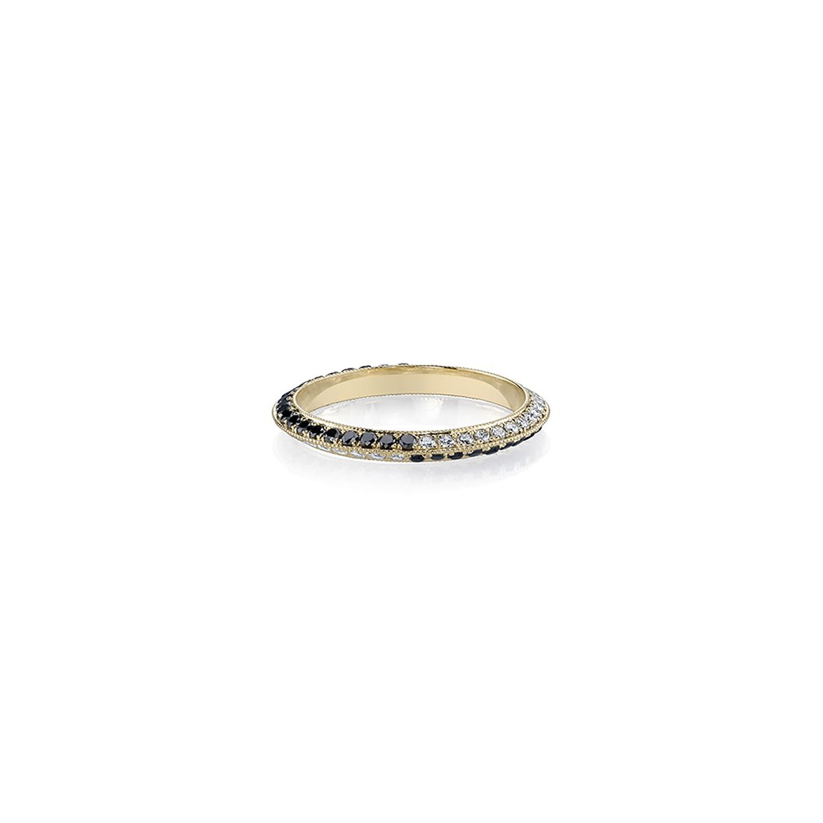 Lizzie Mandler Gold Knife Edge Ring With Black and White Pavé