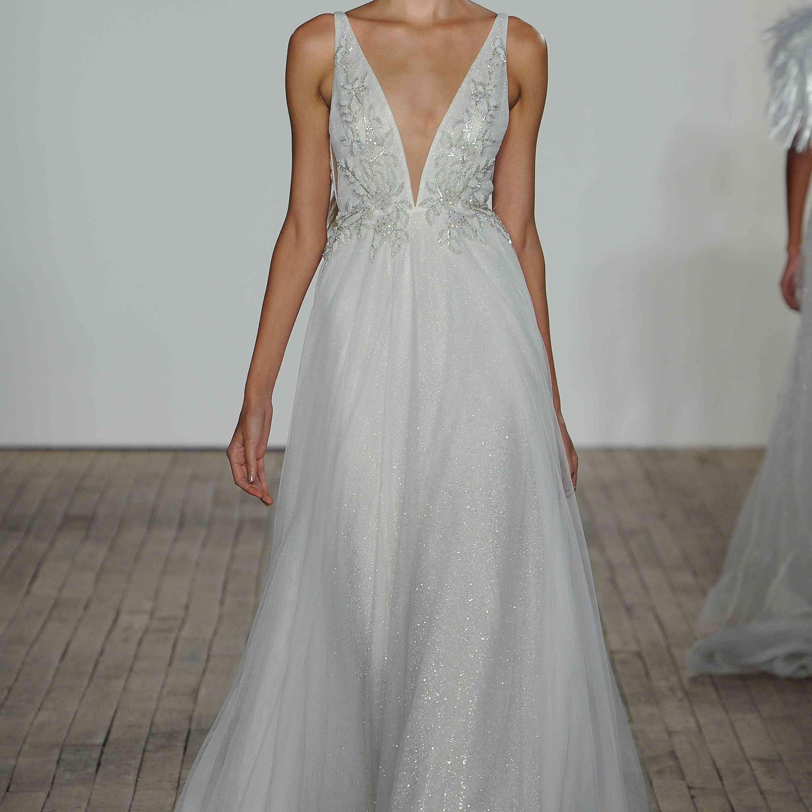 Alma silver plunging wedding dress by lazaro