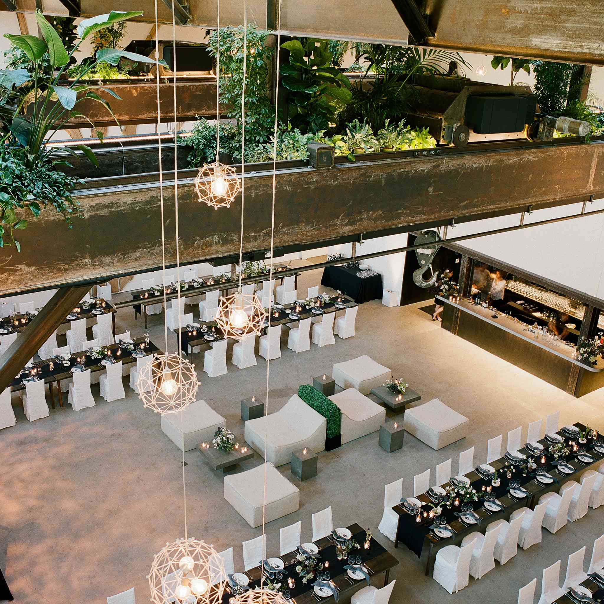 <p>reception tables around dance floor with lounge seating</p><br><br>