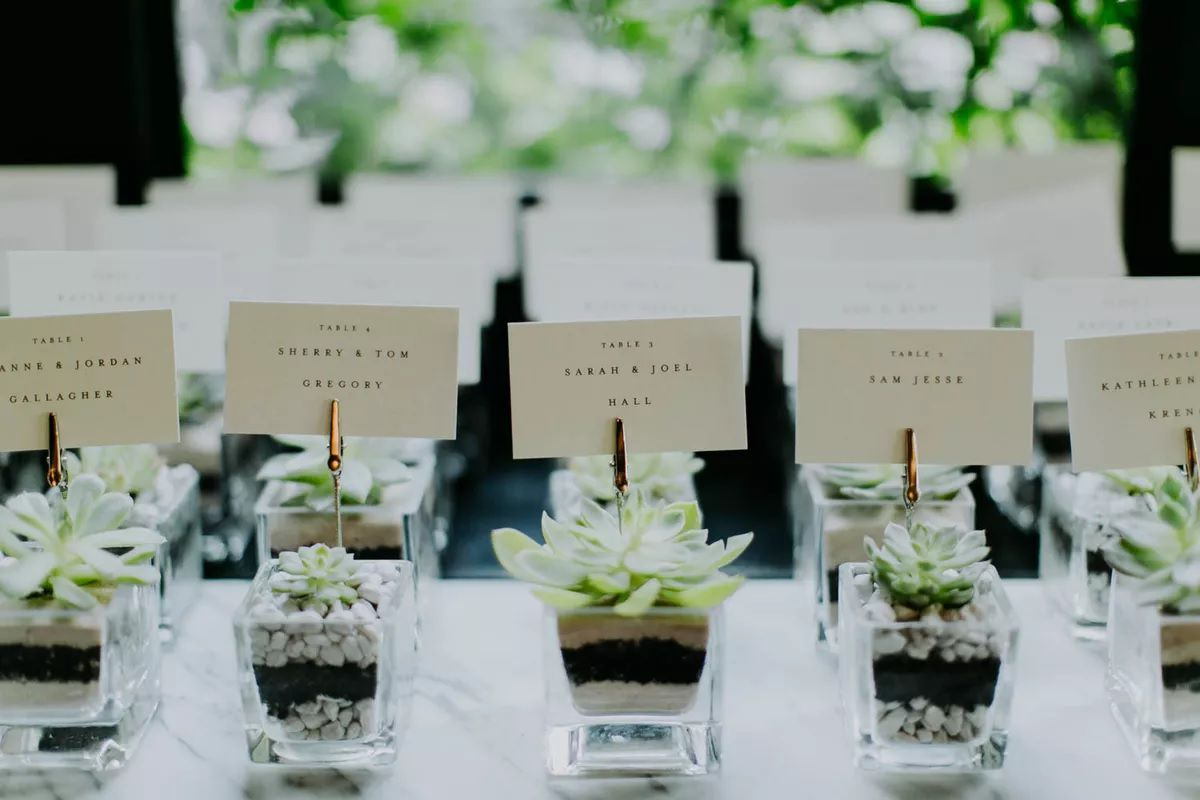 black and white escort cards