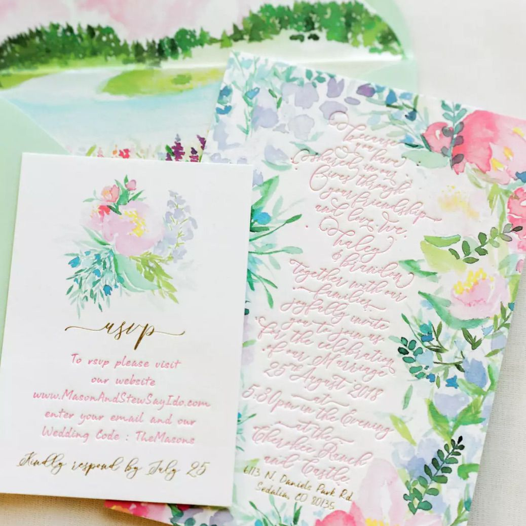 Watercolor floral stationery suite