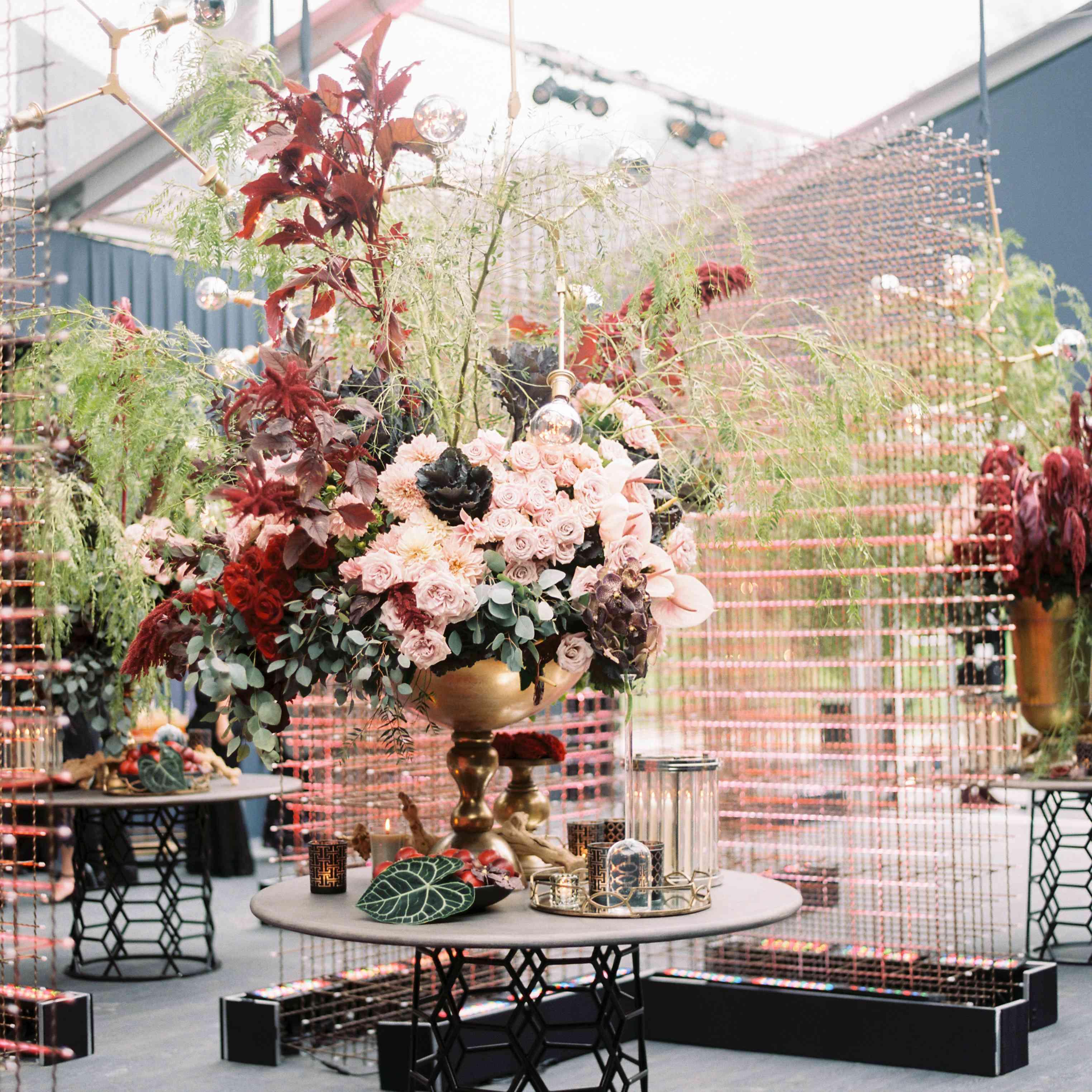 Floral arrangement in wedding tent