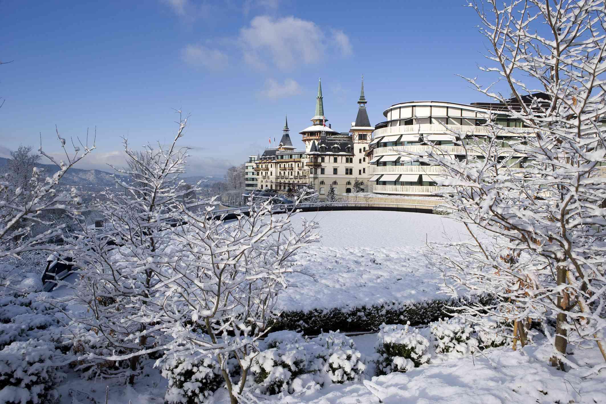 Snowy castle in Switzerland