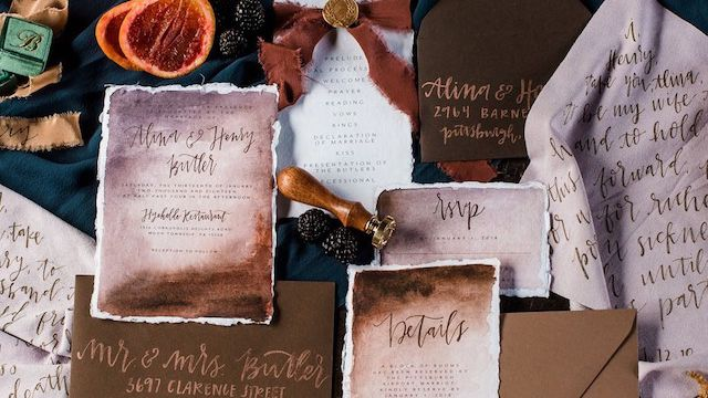 Package of 25 Classic Ivory /& Brown Wedding Invite Suite Ashley Save the Dates with Matching Envelopes