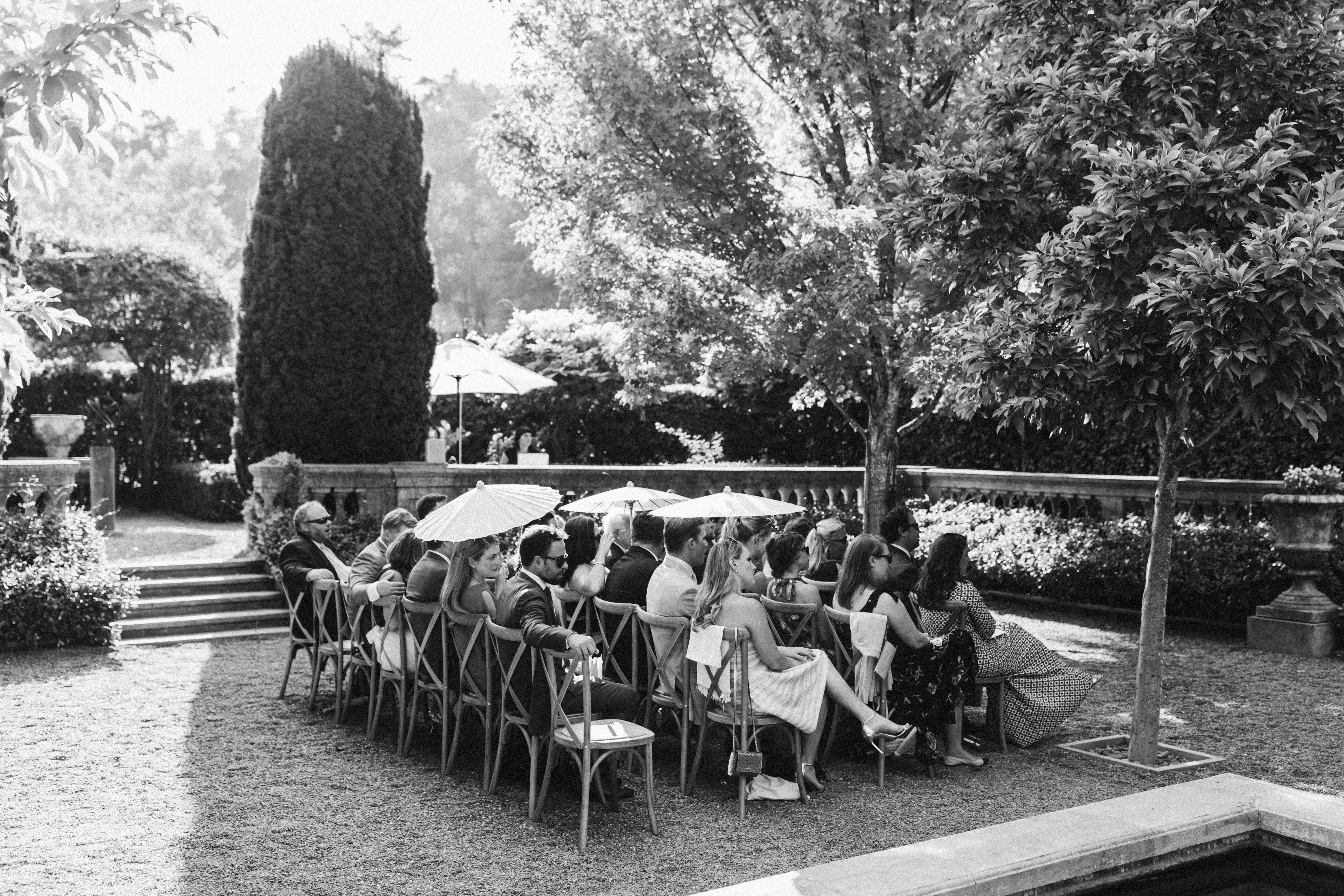 outdoor ceremony with parasols